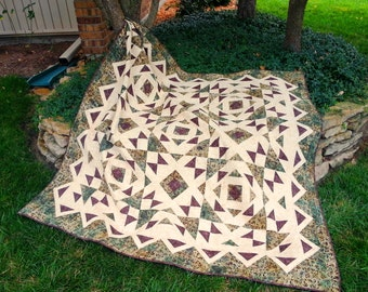 SALE, Buy 2/Get 1 Free -- HAWAIIAN DREAM, pdf quilt pattern,  Throw, Queen and King sizes