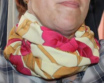 snood or hood in flowing cream pink floral pattern