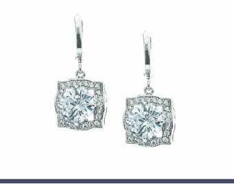 CZ Earrings, Bridal Earrings, Crystal Jewelry, Bridesmaids Earrings, Crystal Earrings, Wedding Earrings, Bridesmaid Gifts, Swarovski Earring