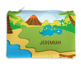 Dinosaur Personalized Pencil Case - Dinosaur Volcano Island Trees with Name, Customized Pencil Case, Pencil Holder, Pouch