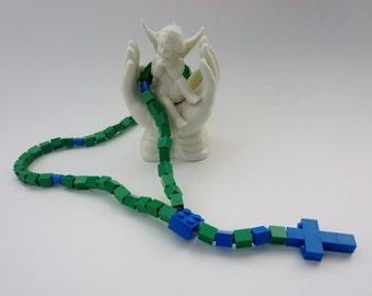 Catholic Rosary Made With Lego Bricks - Green & Blue Boy Rosary - Lego First Communion, Baptism Gift