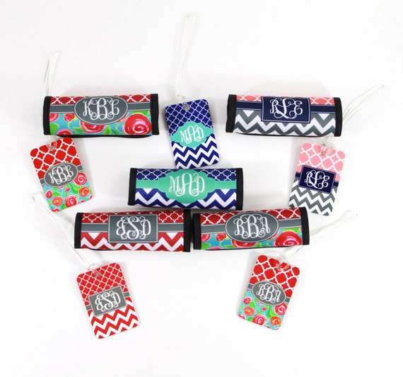 Coordinating Luggage Finder & Luggage Tag, Monogram Chevron Preppy Bag Tags Personalized Luggage Decor Travel Gifts for Women