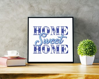 """Home Sweet Home Pink or Blue Framed Poster Print 