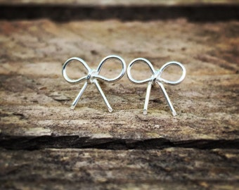 Sterling silver bow earrings, sterling silver stud earrings, silver studs bridesmaid gift