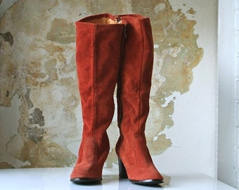 RESERVED FOR KARIA cinnamon girl suede 70s boots