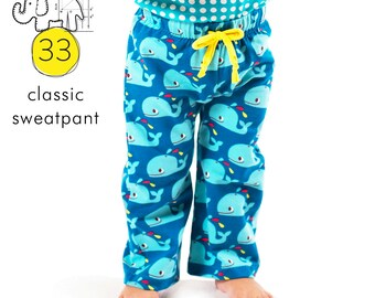 Kids classic sweatpants sewing pattern // elastic waist //  photo tutorial // instant pdf download // sizes 0-6T // #33