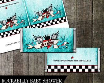 Printable Rockabilly Candy Bar Wrappers, It's a Boy Candy Bar Wrapper, chocolate wrapper, party printable for Baby Showers, DIY Printable