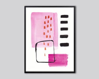 Abstract wall art print, large abstract art, Pink, black, abstract wall decor, pink and black painting, abstract art, 01
