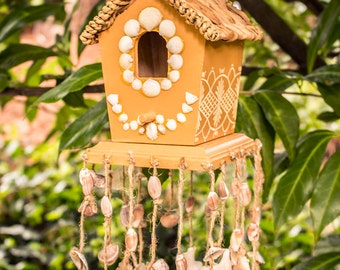 Hand Painted Beach Birdhouse, Hand Painted Seashell Bird House