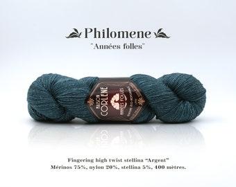 """Philomena - Roaring twenties - nylon stellina """"Silver"""" high twist Merino"""