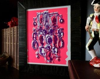 KAMEEN #144 | mädchenhaft handgemachter Siebdruck in hell lila und Neonpink (8 x 10)