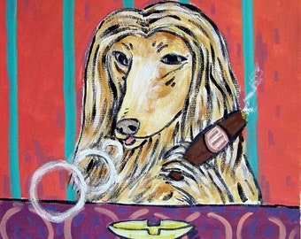 25% off Afghan Hound - art - tile -  print on tile - ceramic coaster - cigar art - cigar bar decor