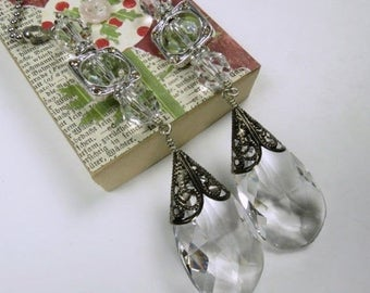 Decorative Chain Pull Pair for Ceiling Fans or Lamps with Leaded Crystal Teardrops and Silver Toned Accents