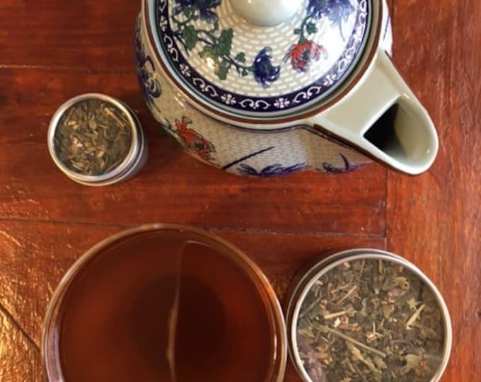 Herbal Decongestant Tea with Mullein, Nettles, Dandelion, Peppermint, Lemon Balm, Valerian, Cold Weather, Cough, Stuffy Nose Herbal Tea