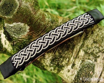 Viking Hair Barrette Clip | Large FREKI Black Leather Hair Clip with Pewter Braid | Handmade Nordic Design