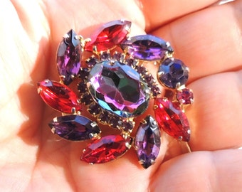 Vintage Juliana Brooch Pin Delizza & Elster Red Heliotrope Rhinestone Vintage Jewelry