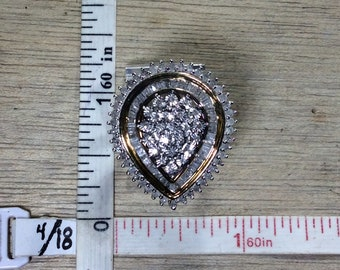 Vintage Blingy 925 Sterling Silver 7.6g Gold Washed Ring Size 6.75 Diamonds Used