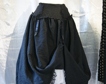 SALE Goth Rose long suspender skirt steampunk black rose fabric with lace trim and hitch hem size small UK 8-10 Obsidian clothing