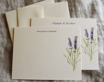 Lavender Note Cards with Envelopes | Personalized Notecards Handmade | Notecard Set | Gift for Her | Coworker Gift