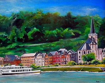Wall Art - Original Art Germany - Germany Art - River Art - Rhine River (Rhein) Wine Growing Region