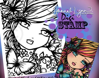 PRINTABLE Digi Stamp April Fairy Butterfly Coloring Page Fun Fantasy Art Hannah Lynn