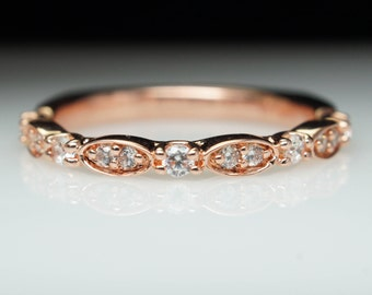 Stackable Rose Gold & Diamond Wedding Band Ring Petite Band Available in Rose Gold White Gold Yellow Gold Custom