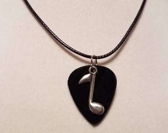 Vinyl Guitar Pick Necklace Music Note