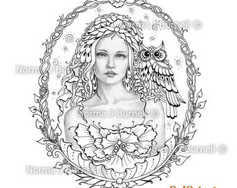 Through the Glass - Fairy Tangles Grayscale Digital Printable Coloring Pages Fairy Owl by Norma J Burnell Adult Coloring for Grownups