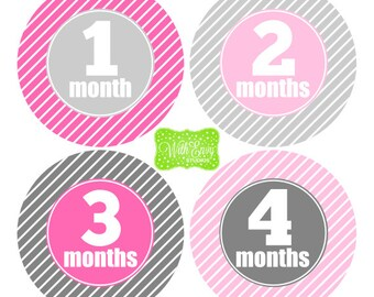 Baby Girl Milestone Stickers - Baby Girl Monthly Stickers - Stripe Baby Stickers - Baby Girl Growth Stickers - Girl Milestone Stickers - 037