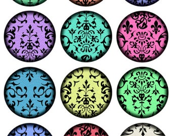 Damask Bright Printable 1-Inch Circles / Colorful Damask Motif Digital Collage / Bottlecap Images / Instant Download