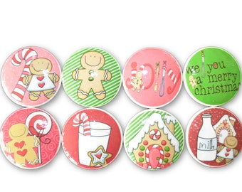Set of 8 Christmas Gingerbread and Candy Cane Cabinet Knobs