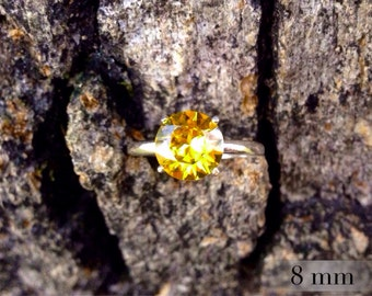 Golden Topaz Ring, November Birthstone Ring, Sterling Silver Ring with Golden Topaz Gemstone, Bridesmaids Gifts