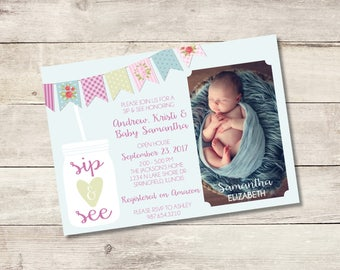 Sip and See Invitation / DIY  Invitation / Welcome Baby Invitation
