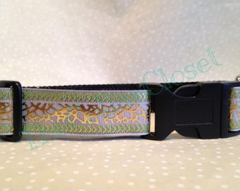 Animal Print Gold and Green Leopard Print Foil Dog Collar