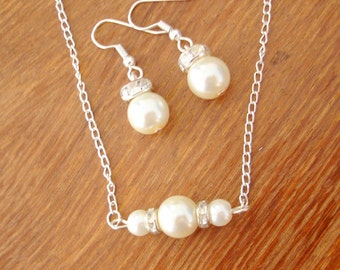 Floating Pearls and Diamantes Necklace and Earrings Set -  Bridesmaid Pearl Necklace and Earrings Jewelry Set