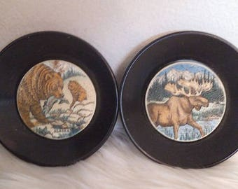 2 Vintage Alaska Souvenir Hand etched and Painted Tiles ~ Bear with Fish ~ Moose with Big Rack ~ rustic cabin decor
