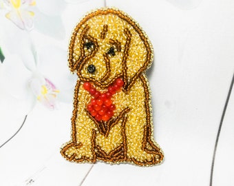 Embroidery brooch Bead brooch Yellow jewelry Dog brooch Yellow bead jewelry Bead dog Beadwork brooch Animal jewelry Embroidery jewelry