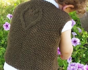 """Toddler/child vest (""""Wuv"""") knitting pattern (PDF)"""