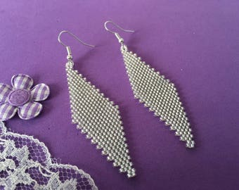 Diamond Shape Silver Earrings, Seed Bead Earrings, Silver Dangle Earrings