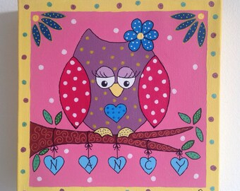Personalised owl nursery canvas