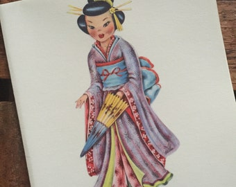Vintage Dolls of Many Lands Card - Doll of Japan - Blank Inside - Unused