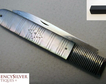 Top Quality 19th-century (1822) GEORGIAN Sterling Silver Mother of Pearl MOP English Antique Folding Pocket Fruit Pen Knife Penknife
