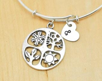 Four Seasons Bangle, Sterling Silver Bangle, Adjustable Bangle, Bridesmaid Gift, Initial Bangle, Personalized Bangle, Charm, Monogram