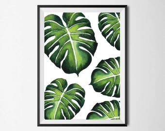 Monstera Leaf Wall Print, Tropical Print, Home Decor, Botanical Wall Print, Plant Leaf Print, Botanical Leaves