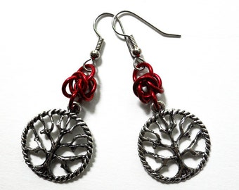 Tree of Life earrings, Red tree earrings, Chainmaille jewelry