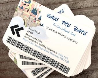 50 Personalised Disney Castle Wedding Invites - Save The Date - Wedding - Disney - Key