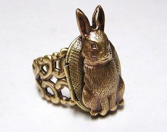 tiny RABBIT Locket Ring, cute and adorable