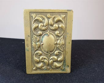 Antique Art Nouveau Matchbox Holder Brass Match Box Case Cover Late 1800's - Early 1900's Original