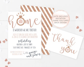 Engagement Housewarming Invitation, Engagement Party, Housewarming Party, Rose Gold, Engagement Invitations, Housewarming Invitations [664]