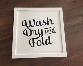 Wash Dry & Fold - Shiplap Laundry Sign